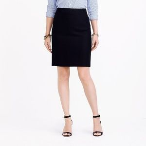 J Crew 6 The Pencil Skirt Solid Black Serge Wool